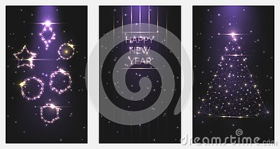 Vector illustration Happy New Year poster invitations. Set of Christmas trees and toys frames of bright light from particles symbo Vector Illustration