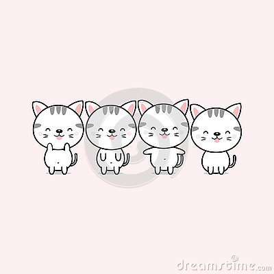 Collection of cute cartoon cats in different poses. Vector Illustration