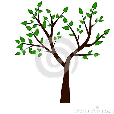 Web. Spring tree green on grunge background for your design Stock Photo
