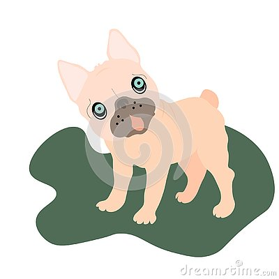 Web Adorable beige Pug puppies on a background. Humor set, hand drawn style print. Vector Stock Photo