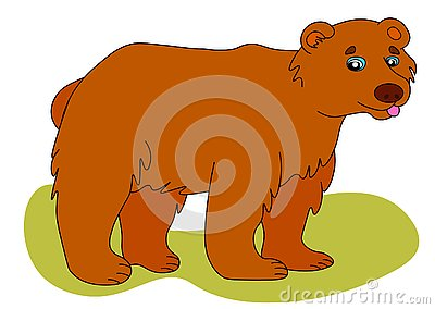 Web Icon of brown bear. Vector illustration, a large wild bear is smiling Cartoon Illustration