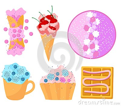 Summer sweets set flat design waffles cake cream smoothie fruits colorful Stock Photo