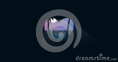 Lovely summer night, heart shaped cave Vector Illustration