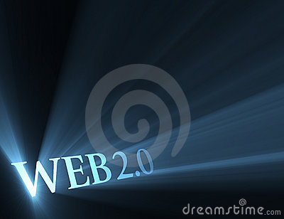 Web 2.0 version sign shining light flare