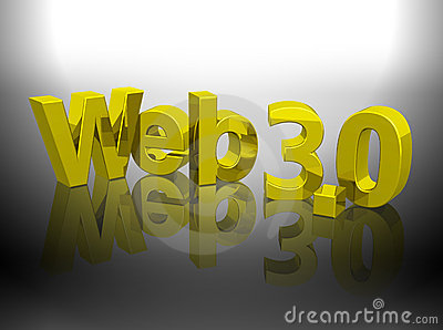 Web 3.0 3D gold shiny word