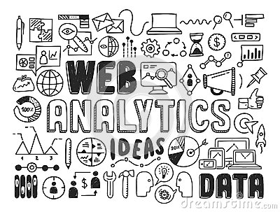 Web Analytics Doodle Elements Stock Image Image 34326331