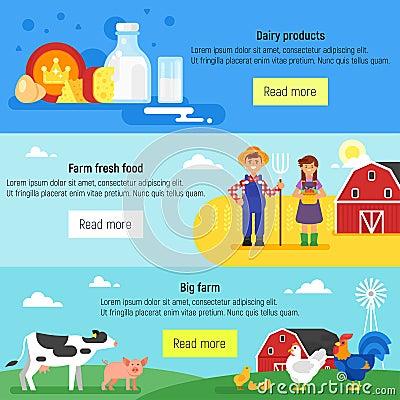Web banner. Farm, farmers, farm Vector Illustration