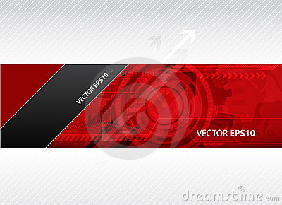 Web banner with red technology illustration.