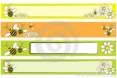 Web Banner set - Bee and daisies for children