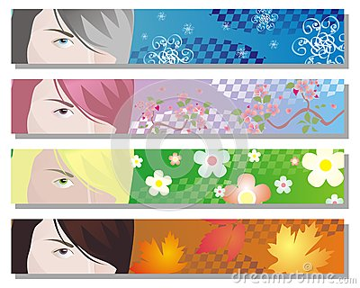 Web banners for four seasons