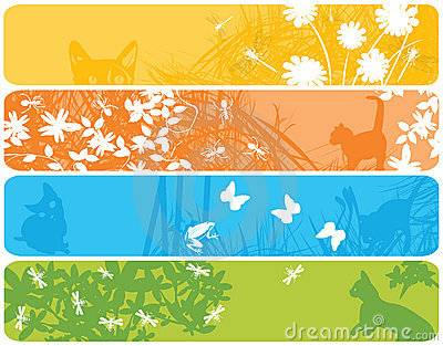 Web banners with spring theme