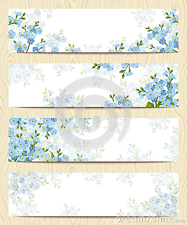 Free Web Banners With Blue Forget-me-not Flowers. Vector Eps-10. Royalty Free Stock Photos - 71921768