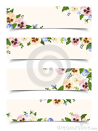 Free Web Banners With Colorful Pansy Flowers. Vector Eps-10. Royalty Free Stock Photo - 66043415