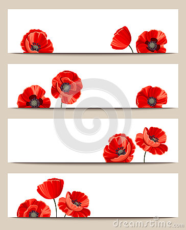 Free Web Banners With Red Poppies. Vector Eps-10. Stock Photos - 74226733