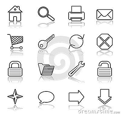 Free Web Black On White Icons Stock Image - 2792531