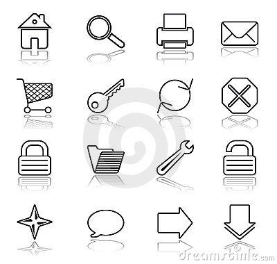 Web black on white icons