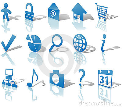 Web Blue Icons Set Shadows & Reflections Angled 1