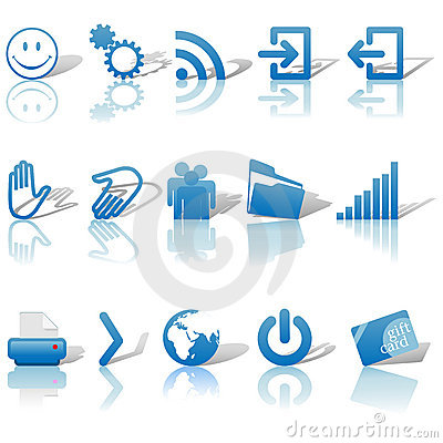 Free Web Blue Icons Set Shadows & Relections On White 2 Royalty Free Stock Photography - 5399097