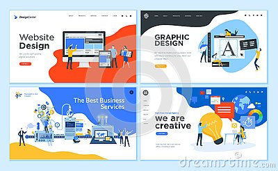 Set of flat design web page templates Vector Illustration