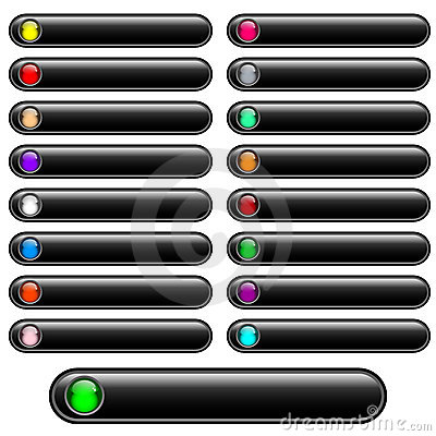Web buttons black glossy