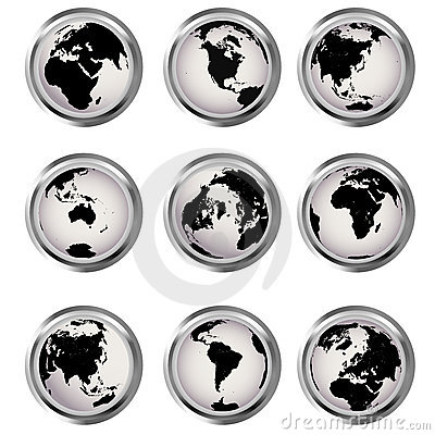 Web buttons with Earth globes