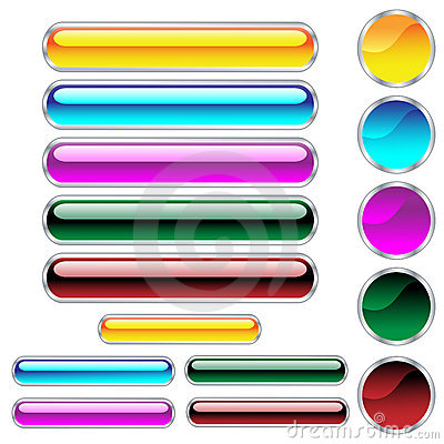 Free Web Buttons Glossy Assorted Colors And Shapes Stock Image - 12009501