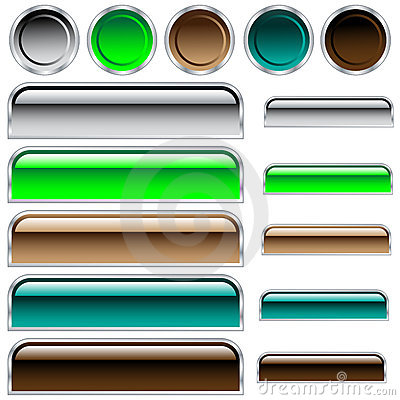 Web buttons glossy assorted colors and shapes