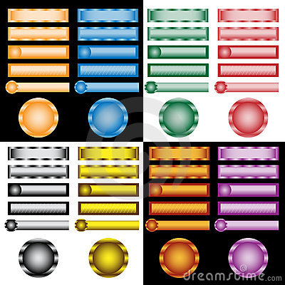 Web buttons set in assorted colors and designs
