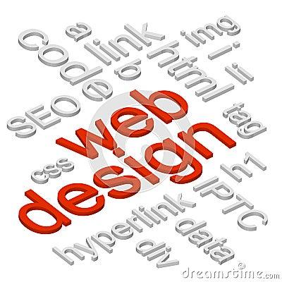 Web Design 3D Words Background