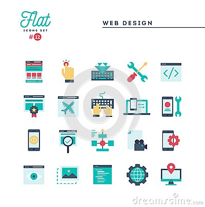 Free Web Design, Coding, Responsive, App Development And More, Flat I Royalty Free Stock Photos - 120715798