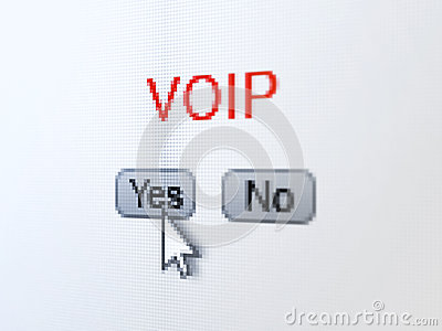 Web design concept: VOIP on digital computer