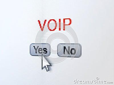 Web design concept: VOIP on digital computer