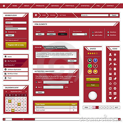 Web Design Element Template Frame Red