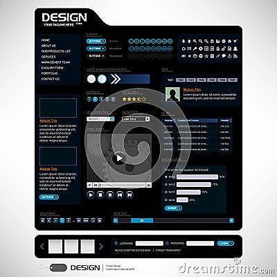Web Design Elements 6 (Dark Theme) Vector