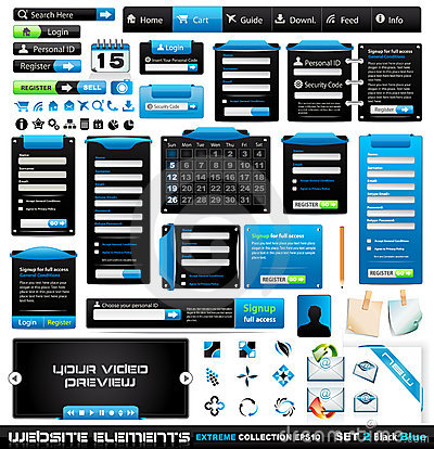 Free Web Design Elements Extreme Collection 2 BlackBlue Royalty Free Stock Images - 18802649