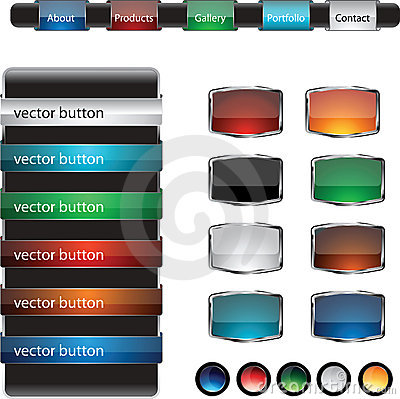 Web design frame buttons  set