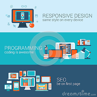 Free Web Design Programming SEO Concept Flat Template Set Vector Stock Photography - 45513082