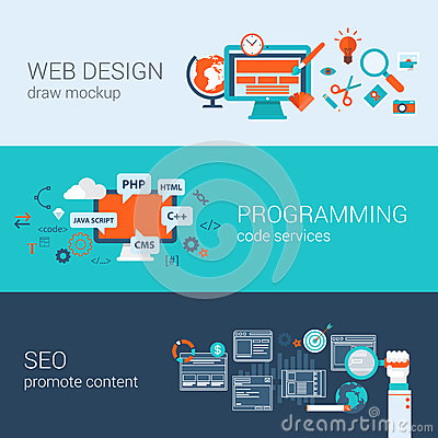 Free Web Design Programming SEO Concept Flat Web Banners Set Vector Stock Photos - 45358743