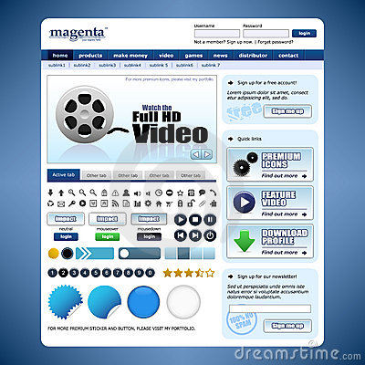 Web Design Template 10 Vector (Blue Theme)