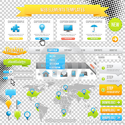 Free Web Elements Template, Icons, Slider, Banner And Buttons. Vector Stock Photos - 28656063