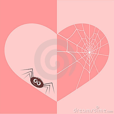 Web in the form of heart and a spider.