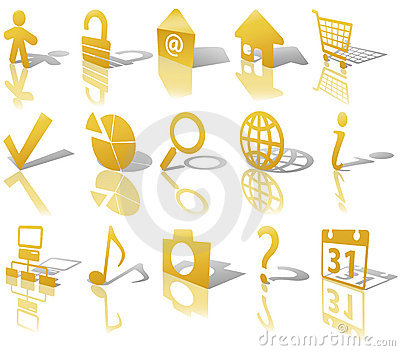 Web Gold Button Icons Set 1 Shadow Reflect Angled
