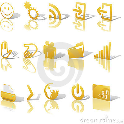 Web Gold Icons Angled on White Set 2 Editorial Image