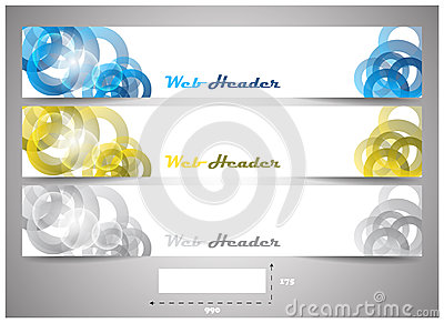 Web headers with precise dimension, set of  banners