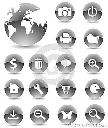 Free Web Icons 01 Black Stock Image - 5375131