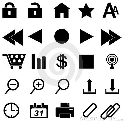 Web icons in black