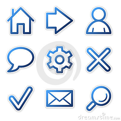 Free Web Icons, Blue Contour Series Royalty Free Stock Images - 5171719