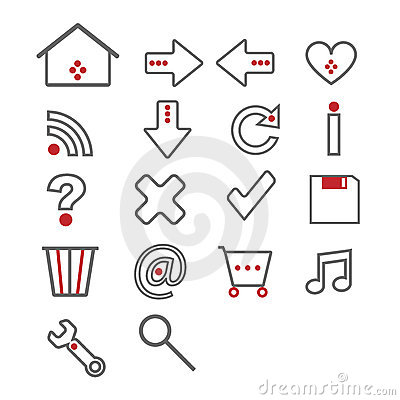 Web icons - grey and red