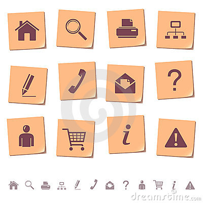 Free Web Icons On Memo Notes 1 Stock Image - 11314161
