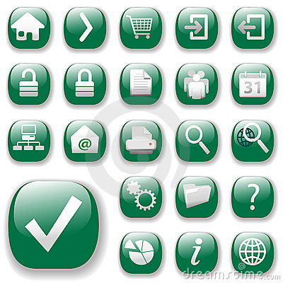 Free Web Icons Set-Green Royalty Free Stock Photography - 2658047